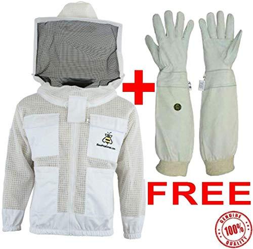 Bee Jackets Jrvg 3X Schichten Sicherheit mit Gratis Handschuhe - Unisex Weiß Stoff Netz Imkerei Jacke - Imkerei Rund Schleier Schutz Bekleidung - Voll Belüftet Bienenzucht Jacke - 4XL