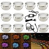 RGB Led Bodeneinbaustrahle Aussen Ø45mm IP67 Wasserdicht LED Einbaustrahler Terrasse Küche Garten Led Lampe10er Full Kit