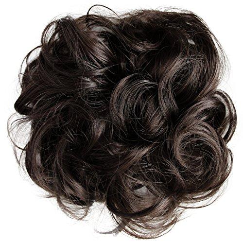 PRETTYSHOP Haarteil Haargummi Hochsteckfrisuren, Brautfrisuren, VOLUMINÖS, gelockter unordentlicher Dutt, braun #8 G4E