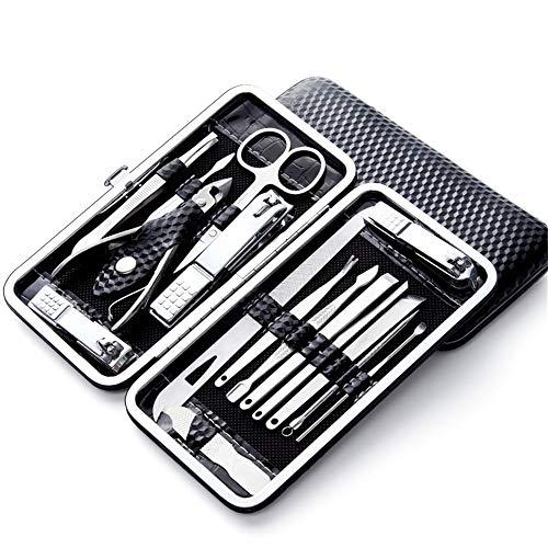 Ensemble de ciseaux à bouche plate en acier inoxydable Ciseaux à ongles pour adultes, ménage, noir 16 ensembles