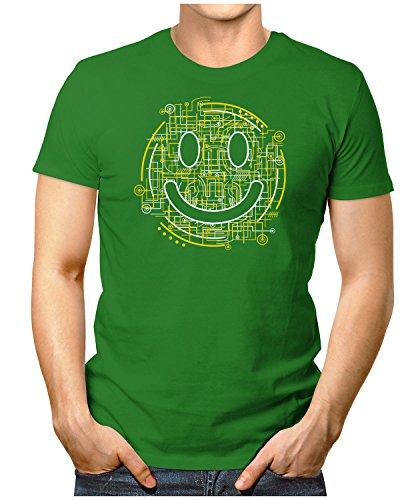 PRILANO Herren Fun T-Shirt - ELECTRIC-SMILEY - Small bis 5XL - NEU Grün