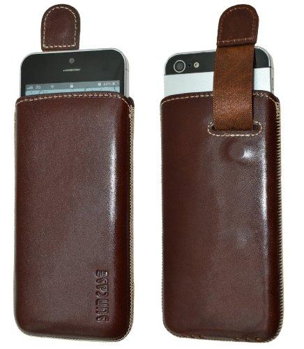 Original Suncase Tasche für / Apple iPhone 5C / Leder Etui Handytasche Ledertasche Schutzhülle Case Hülle - Lasche mit Rückzugfunktion* In Wash-Blau Braun
