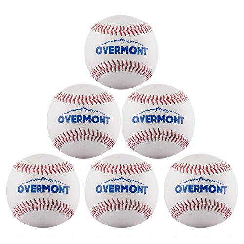 Overmont 6pics de pelota de beisbol sofbal softball de Cuero Sintetico, color blanco