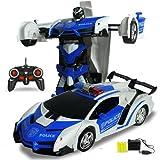 Pinjeer 2 in 1 Auto rc Auto Sportiva Modelli di Robot di Controllo remoto deformazione Auto rc Combattimento Giocattoli 4 Anni Bambini Regalo di Compleanno per Bambini (Color : Blue-A)
