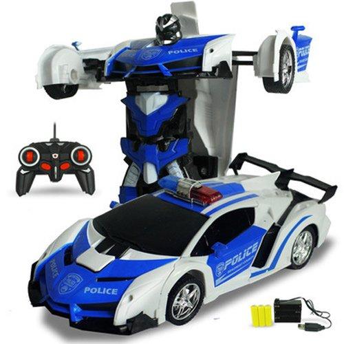 Pinjeer 2 In 1 RC Auto Sport Auto Transformation Roboter Modelle Fernbedienung Verformung Auto RC Kampf Spielzeug 4 Jahre Alt Kinder Kinder Geburtstagsgeschenk (Color : Blue-A)