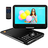 APEMAN 11.5'' Portable DVD Player with Built-in Rechargeable Battery with 9.5'' Swivel Screen SD Card and USB Supported Direct Play in Formats AVI/RMVB/ MP3/JPEG (Black)