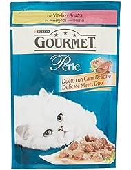 Gourmet Perle Gatto Duetti con Carni Delicate con Vitello e Anatra, 85 g - Confezione da 24 Pezzi
