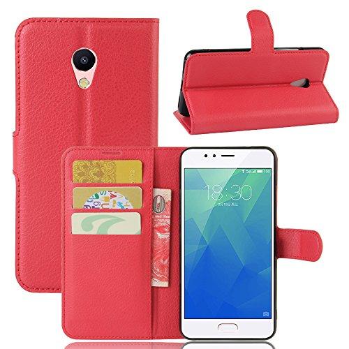 Custodia Meizu M5S, WolinTek Cover a libro in simil pelle con Funzione di Appoggio Posteriore Flip Wallet Case per Meizu M5S,rosso