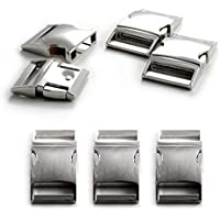 """3er Set 1"""" Klickverschluss/Klippverschluss verchromt (Steckschließer) aus legiertem Metall für Paracord Armbänder, Kordeln etc, 50mm x 30mm, Farbe: Silber - Marke Ganzoo"""