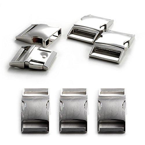 """Fermoir à clip en métal allié, idéal pour les paracordes (bracelet, collier pour chien, etc), boucle, attache à clipser, grandeur: XL, 1"""", 50mm x 30mm, couleur: argent, de la marque Ganzoo - lot de 3 fermoirs"""