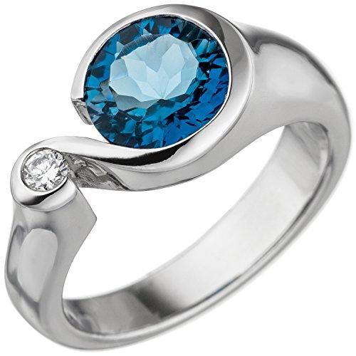 JOBO Damen-Ring aus 585 Weißgold mit Blautopas und Diamant Größe 54 (In Ring London Weissgold Topas Blue)