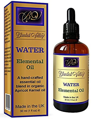 Aromatherapy Oil WATER - Essential Oils of Lemongrass, Frankincense, Jasmine, Ylang Ylang in Apricot Kernel. For Diffuser, Burner, Fragrance Lamp. For Relaxation, Yoga, Meditation. Promotes Healing.