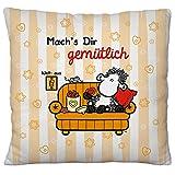 Sheepworld 49731 Plüsch Mach's Dir Gemütlich, 25 cm x 25 cm Zier-Kissen, Polyester, Orange, Rot, Schwarz, 25 x 25 cm Zierkissen