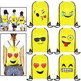 Emoji Rucksack, MOOKLIN 6 Packs Drucken Rucksack Party Favors für kindergeburtstag Gastgeschenk party Mitgebsel Geschenk