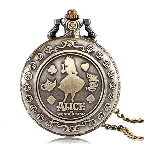 HJKLO Taschenuhr Design Quarz Taschenuhr Speical Fob Watch Lady Girl Geschenk Drop Shipping, Bronze -