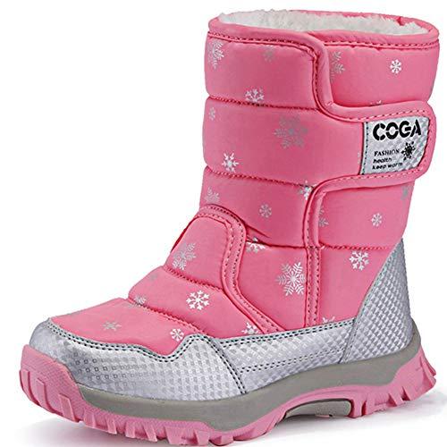 SAGUARO® Niños Botas de Nieve Impermeable Bota de Invierno Zapatos Calientes,Rosado,34 EU
