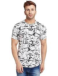 LE BOURGEOIS Men's Black and White Roun Neck T-Shirt