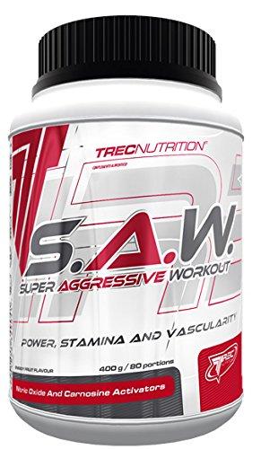 Trec Nutrition S.A.W. Muskelaufbau maximierter Fokus und massiver Pump Energy Sport Kreatin Bodybuilding 400g Dose (Blackcurrant Lemon- Blackcurrant-Lemon -