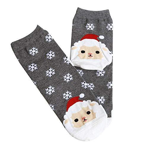 Arulinmz 2019 Mode Unisex-Socken, süße Weihnachten Crew Socken Baumwolldruck Kleid Socken Geschenk Winter Herren Damen Socke (Farbe : Gray) (Farbe Kleid Socken Herren)