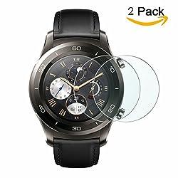Huawei Watch 2 Glass Screen Protector, 2-packs Kimilar [Tempered Glass] 9h Hardness Screen Protectors For Huawei Watch 2 Smartwatch