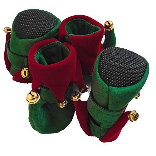 4 stücke x Pfote Schutz Hund Schuhe Zeigen Clown Schuhe Anti-Skid Pet Produkte für Halloween Weihnachten,Green,M