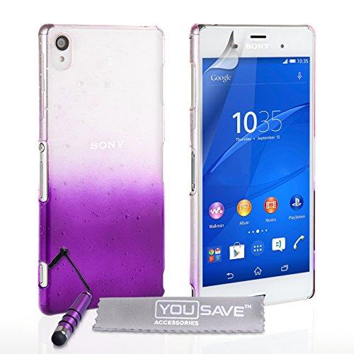 Yousave Accessories Regentropfen SchutzHülle Cover mit Mini Eingabestift für Sony Xperia Z3, Violett/transparent