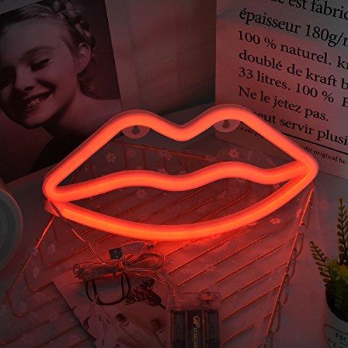 Neonlichter, LED-Zeichen dekorativer Nachtlicht-Wand-Dekor für Hochzeit Geburtstag Hochzeit Bar Schlafzimmer Indoor Decor Batteriebetrieben und USB Powered (rote Lippen)