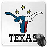 BGLKCS Texas Star Mauspads Mouse Pad, Doodle Style Buffalo Head with Horns Texas Flag and Vintage Letters Cowboy Theme,