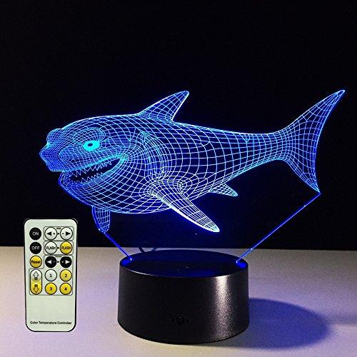 Wandun 3D Nachtlicht Lampe 3D Bunte 3D Lampe 7 Farbwechsel Schreibtisch USB Neuheit Tischlampe Nette Kleine Nachtlampe Tier Nachtlicht Shark Nachtlicht (Color : Remote Control)