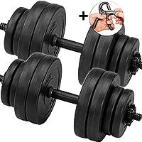 C.P. Sports Juego de pesas cortas, mancuernas de 30 kg, 2 barras de pesas