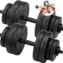 C.P. Sports Juego de pesas cortas, mancuernas mancuernas de 30kg 2x barras de pesas con pesas y dedos Trainer