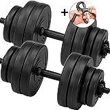 C.P. Sports Set pesi manubri, manubri Set di manubri 30kg 2x manubri con dischi e dita Trainer