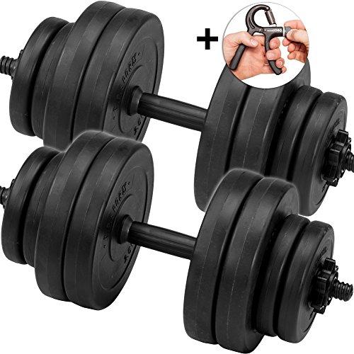 C.P. Sports Set d'haltères d'haltères Haltères Lot d'haltères 30kg 2x Barres d'haltères avec haltères et doigts Trainer
