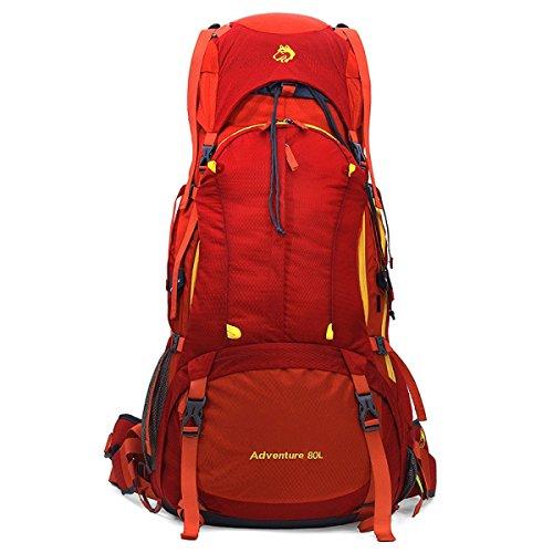 Grande Capacità 80L Pesante Alpinismo Borsa All'aperto Campeggio Sport Zaino,Red-OneSize Red
