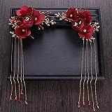 LFDHG Vintage Gold Rote Haarnadeln Clips Und Haarspangen Blume Band Perle Kristall Frauen Haarschmuck Quaste Stirnbänder Hochzeit Zubehör