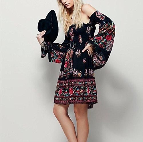 ASSKDAN Femmes Bohème Robe Imprimé Floral épaule Nu Manche Longue Mini Robe de plage d'été Noir