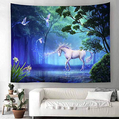 sunfree1 Starry Unicorn Wandteppich Kinderzimmer Schlafzimmer dekorative Tuch hängende Wolle Polyester kann Bilder, Blätter, Vorhänge, Hintergrund Tuch, Unicorn 1 (horizontale Version 150x200cm) -