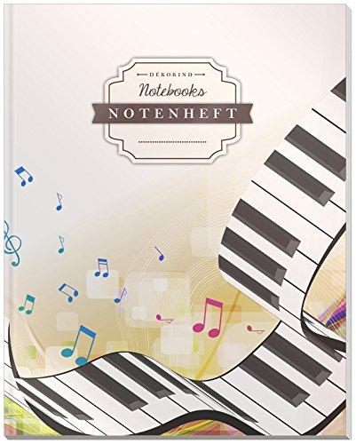 DÉKOKIND Notenheft | DIN A4, 64 Seiten, 12 Notensysteme pro Seite, Inhaltsverzeichnis, Vintage Softcover | Dickes Notenbuch | Motiv: Klavierspiel