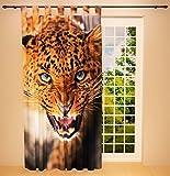 Clever-Kauf-24 Schlaufenschal Vorhang Gardine Leopard BxH 145 x 245 cm | Sichtschutz | Lichtdurchlässiger Schlaufenvorhang