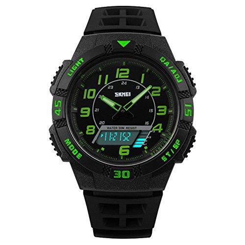 Kinder Armbanduhr Jungen Digital Analog Wasserdicht Sports Uhren für Jungs und Mädchen,Grün Digital Uhr