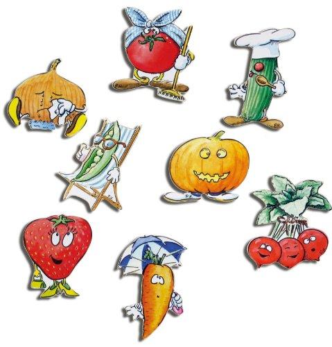 Kühlschrankmagnete Küche lustig Magnete für Magnettafel Kinder stark 8er Set Comic mit Küchenmotiv Obst und Gemüse