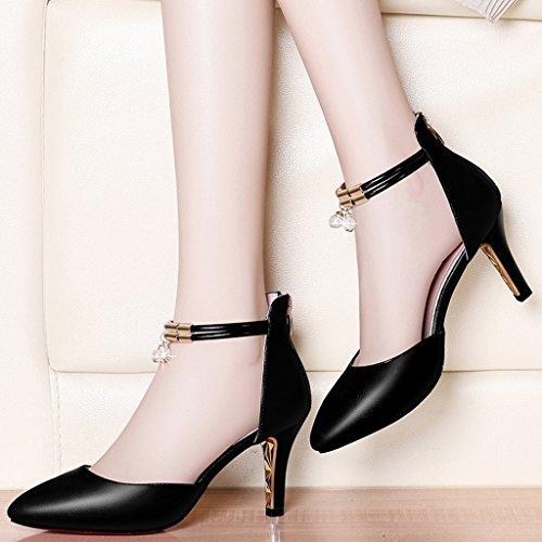 HWF Chaussures femme Mode Mi talon pointu Sandales Femme Chaussures à talons hauts Chaussures pour femmes ( Couleur : Noir , taille : 39 ) Noir