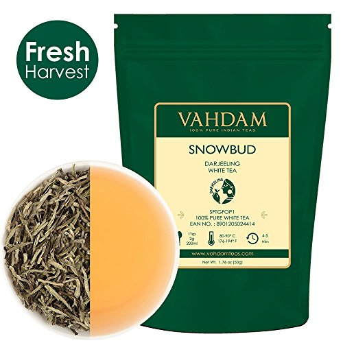 VAHDAM, Snobud White Tea Leaves from Darjeeling (25 Cups), White Tea Loose Leaf Sourced Direct from High Elevation Estates in The Himalayas | Loose Tea | Loose Leaf White Tea | 50gm