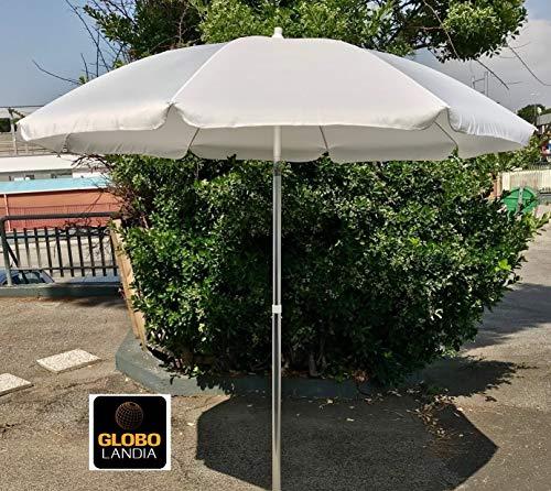 Globolandia srl 89503bia - ombrellone parasole da spiaggia in alluminio da 220 cm con snodo per la reclinazione colore bianco, per spiaggia, giardino e balcone
