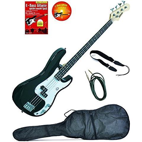 Basso elettrico P-Style, nero, compreso cavo audio, tracolla, custodia, libro per imparare/CD