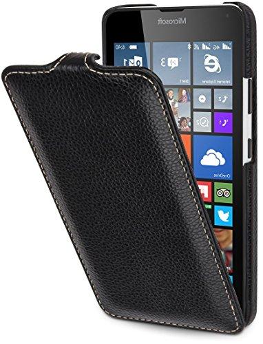 StilGut UltraSlim Case, Hülle aus Leder kompatibel mit Microsoft Lumia 640/640 Dual SIM (nur kompatibel mit orangener und Blauer Version), schwarz