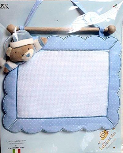Coccarda nascita quadretto orso (azzurro)