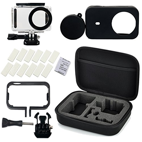 Flycoo Set di accessori per fotocamera Xiaomi mijia composto da 5 pezzi:Flycoo Astuccio-custodia impermeabile, telaio, cover in silicone, protezione anti-appannamento, alloggiamento per action camera Mijia 4K, Nero