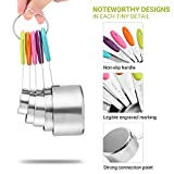 Zanmini Measuring Cups and Spoons Set of 10 Stainless Steel 2 Rings Silicone Handle Engraved Measurements for Dry and Liquid Ingredients Dishwasher Safe Cooking Baking Kitchen Gift for Valentine