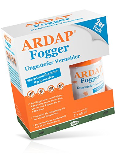 ARDAP Fogger - Zuverlässiger Vernebler zur Ungeziefer- und Flohbekämpfung für die Anwendung im Haushalt sowie in der Tierhaltung - wirksamer Schutz für bis zu 6 Monate - 2 x 100 ml -